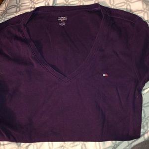 Tommy Hilfiger Purple V Neck T Shirt